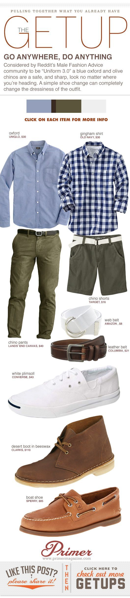 """Considered by Reddit's Male Fashion Advice community to be """"Uniform 3.0"""" a blue oxford and olive chinos are a safe, and sharp, look no matter where you're heading. A simple shoe change can completely change the dressiness of the outfit.:"""