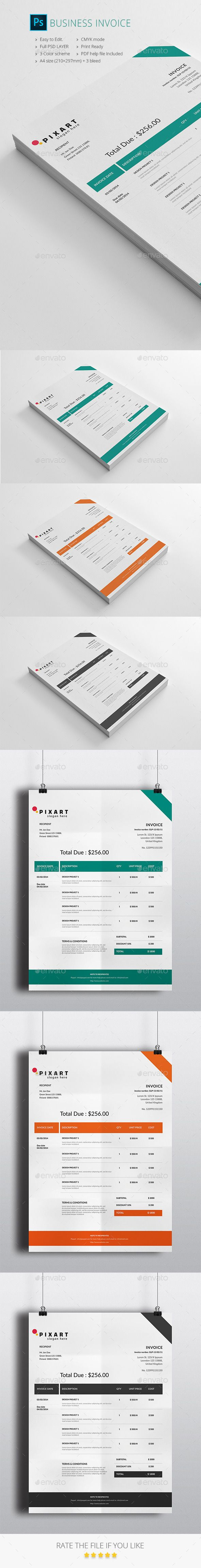 Business Invoice Template PSD #design Download: http://graphicriver.net/item/business-invoice/14013733?ref=ksioks