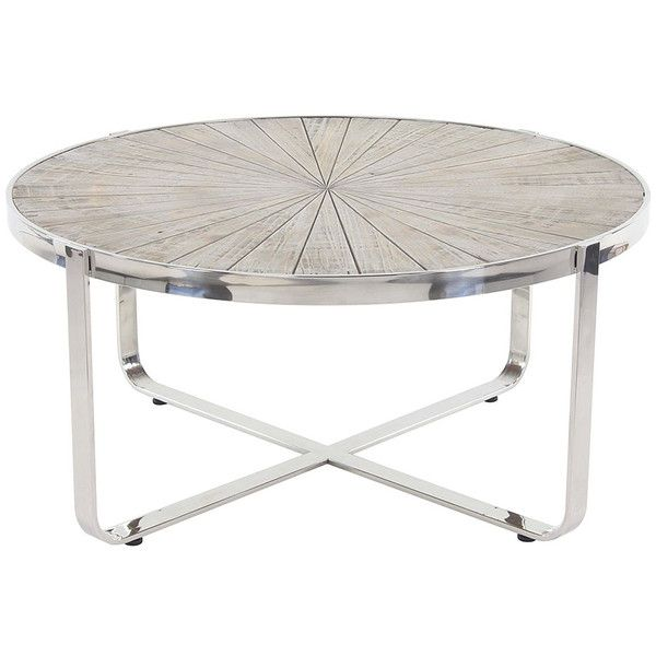 uma enterprises round stainless steel coffee table 380 liked on polyvore featuring home
