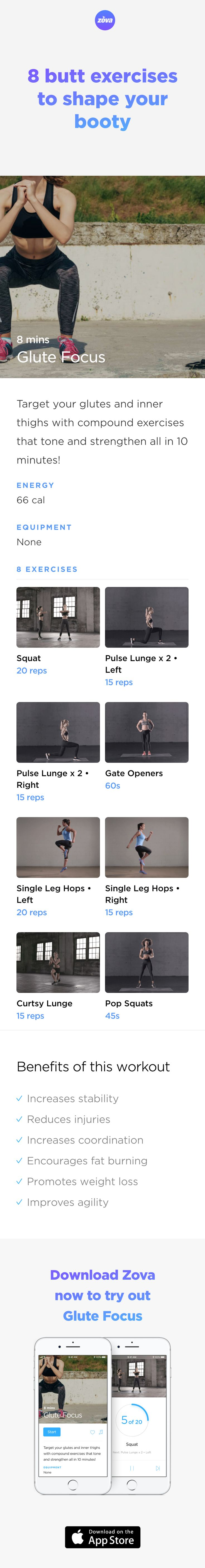 Get buns of steel in less than 10 minutes with this easy body-weight workout. By focusing on your glutes, you'll help shape your body and firm your butt, while improving your posture and burning fat at the same time. Tone up and increase your fitness in less time than it takes to make a coffee! #booty #butt #workout  #fitness #HIIT