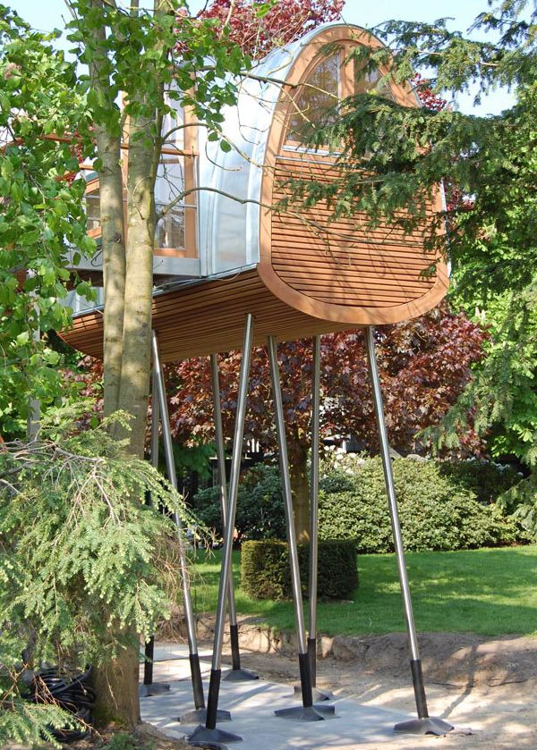 Cute home on stilts, like a tree house without being in the branches!