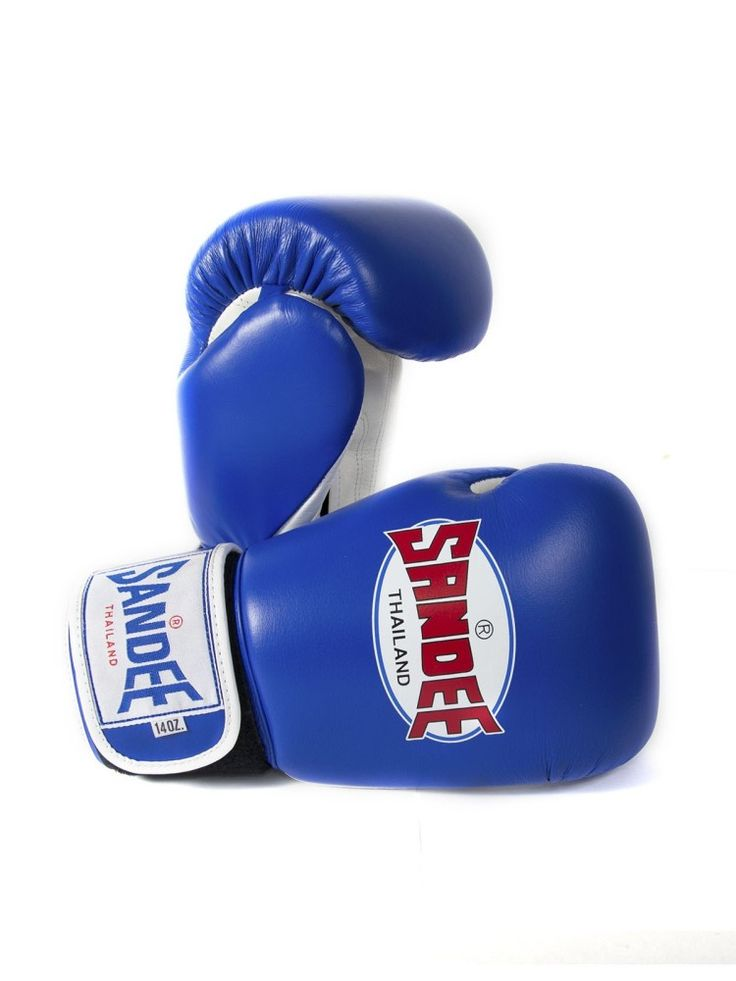 Sandee Authentic Velcro Synthetic Leather Boxing Gloves - Blue & White - Ki