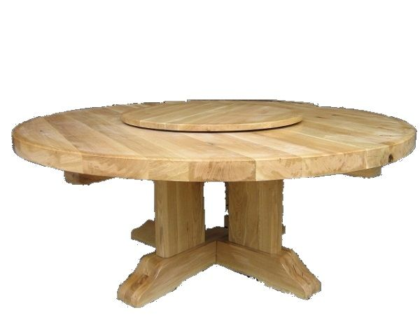 Table Ronde A Plateau Tournant Tres Grand Diametre Table Bois Brut Table Ronde Bois Table Bois