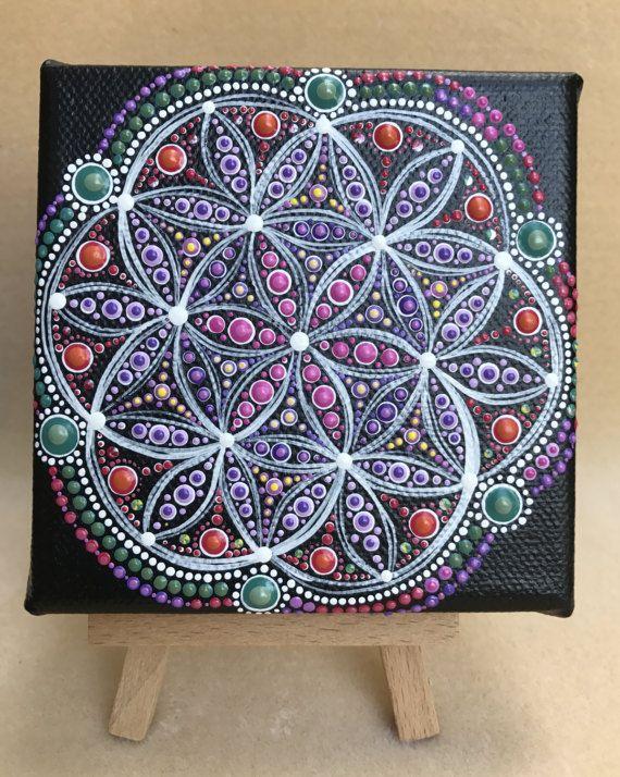 Original punto arte Mandala colores australiano de la 'Opal'