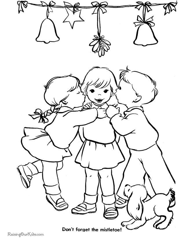 Christmas mistletoe printable coloring page!   Hand ...