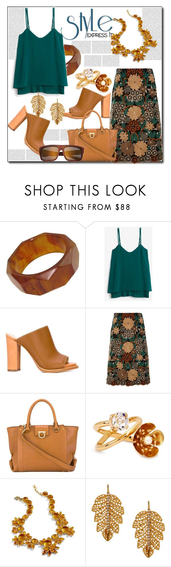 """""""Style: Express It"""" by helenaymangual ❤ liked on Polyvore featuring White House Black Market, Erika Cavallini Semi-Couture, Monique Lhuillier, Salvatore Ferragamo, CA&LOU, J.Crew, Marika and Earth"""