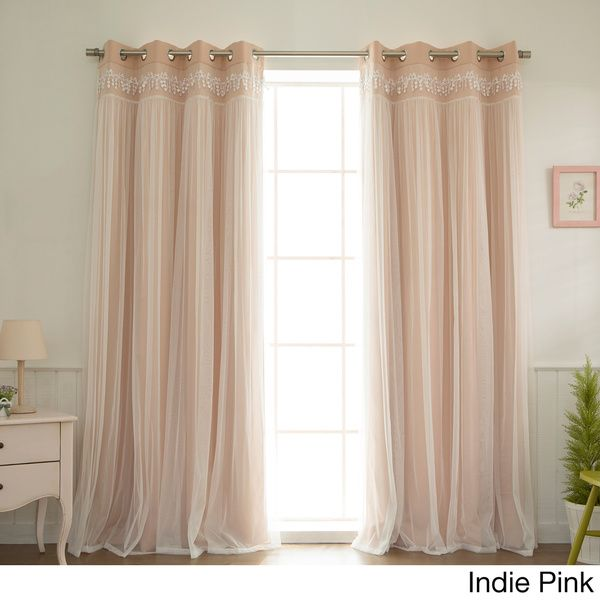 Aurora Home Lace Overlay Blackout Grommet Top Curtain