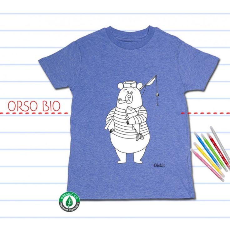 T-shirt BIO manica corta, da colorare: ORSO