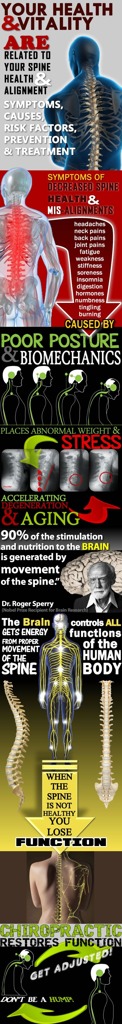 Your Health & Vitality are related to your spine heath & alignment: Symptoms, causes, risk factors, prevention & treatment.