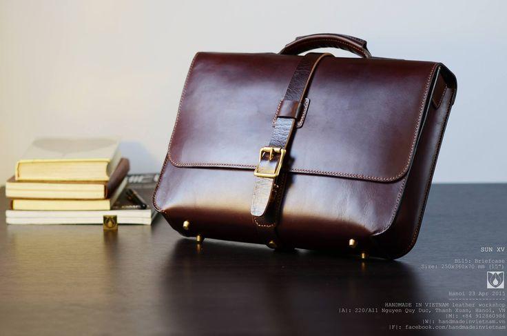 SUN XV BL15: Briefcase Size: 250x360x70 mm ------------------------- #luxury #leather #leatherwork #leathercraft #leathergoods #hanoi #handmade #handycraft #hoangthanhtung #handmadeinvietnam #bag #bespoke #backpack #briefcase #menstyle #mensfashion #madeinvietnam #vietnam #vintage #elegent #case #craft #crossbody #satchel #fashion