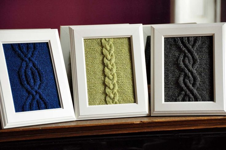 Framed knits for around the house! A nice touch with cabling, and a lot of other ideas on the site.