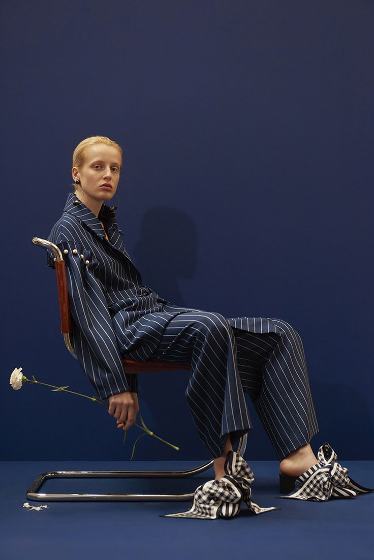 DEON NAVY PINSTRIPE COAT - the Deon has been updated for Spring in navy pinstripe. #motherofpearl #pearlyqueen #deoncoat #ss18collection