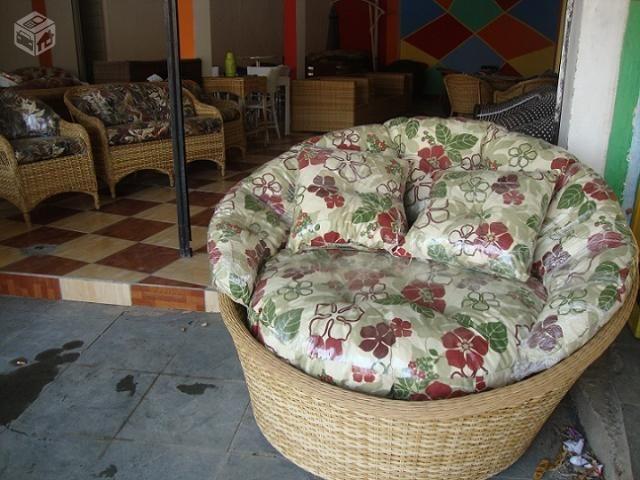 Sofa mesa cadeira vime aluminio fibra sintetica