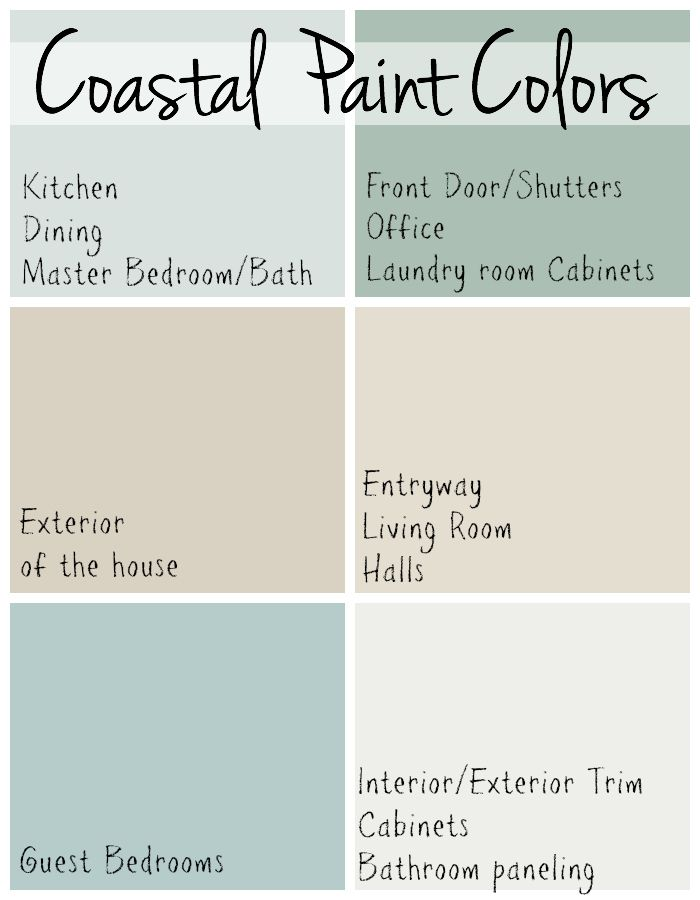 Coastal Paint Colors | Beach house colors, Coastal paint ...
