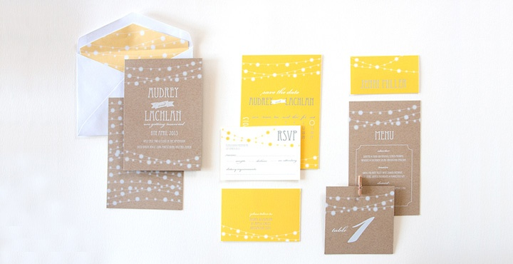 love yellow and kraft together  wedding invitation