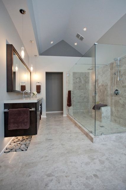 Luxury Glass Showers; love the lit rocks under the vanity (but how on earth do you clean those? is this a display bathroom only? ha!)