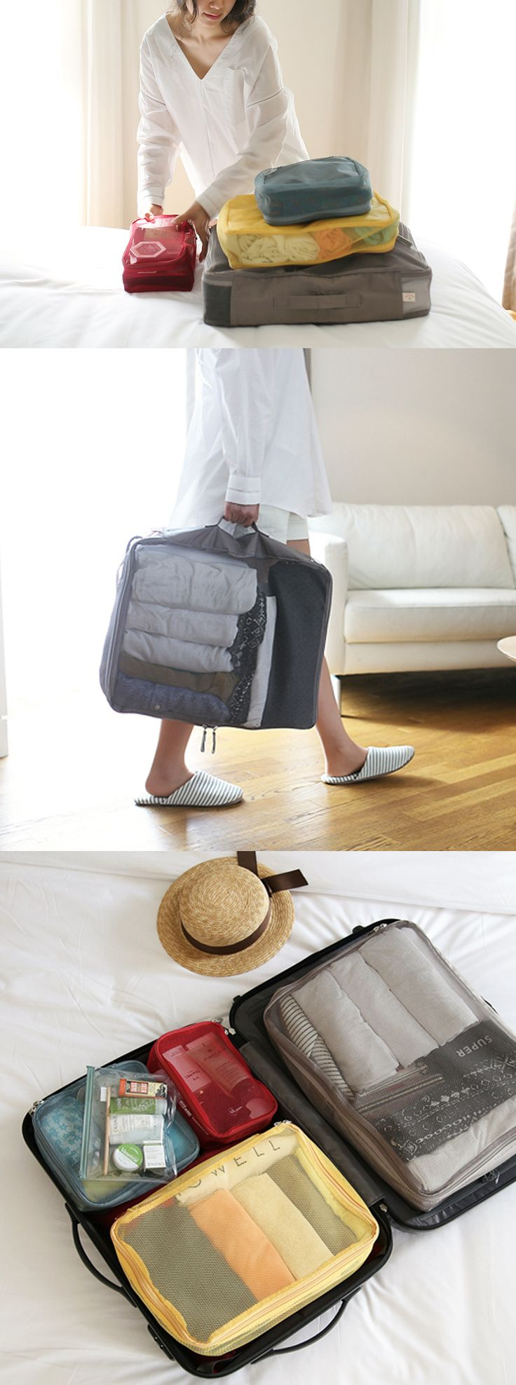 The Luggage Mesh Bag Set is an absolute necessity to bring with you on all your travels!