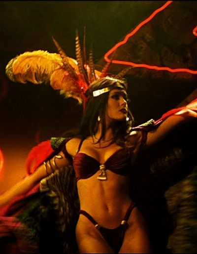 Beautiful Salma Hayek as Santanico Pandemonium in 'From Dusk Till Dawn' by Quentin Tarantino. One of the best comedy-horror movies ever. Salma Hayek brings life to the sexiest female vampire according to me.