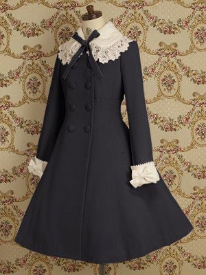 Double-breasted coat with contrast cuffs and collar with bow and lace by Mary…
