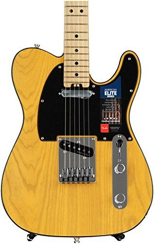 Fender American Elite Telecaster - Butterscotch Blonde. Hum-Free classic Tele tones provided by the all-new fourth-generation Noiseless single-coil Telecaster pickups. Achieve a wide range of tonal versatility that add a warm thick girth or the expected single coil shimmer from the S-1 switch located on the volume control. Play in comfort anywhere on the neck via the compound profile neck; redesigned contoured neck heel. Enjoy increased tuning stability and proper string angle via the...