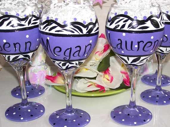 78 best hand painted wine glass for bridesmaid images on for Painted wine glasses with initials
