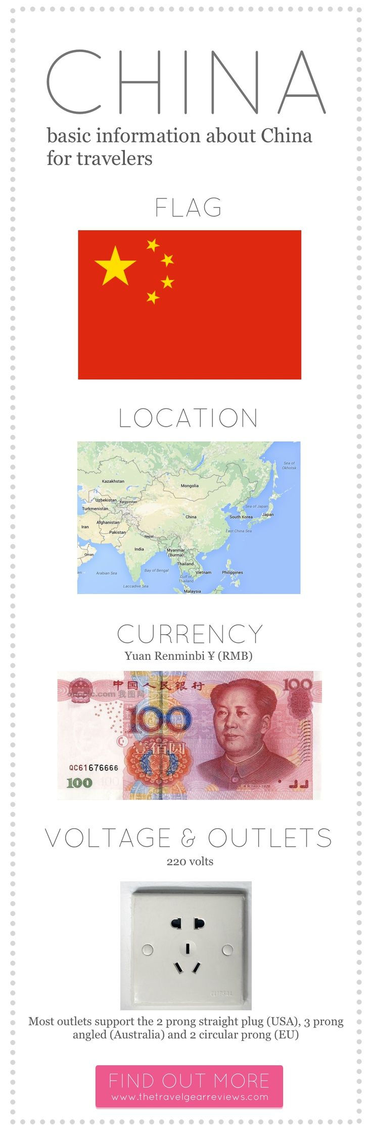 Basic info about #China for travelers. China's voltage, outlets, the Chinese flag and more.