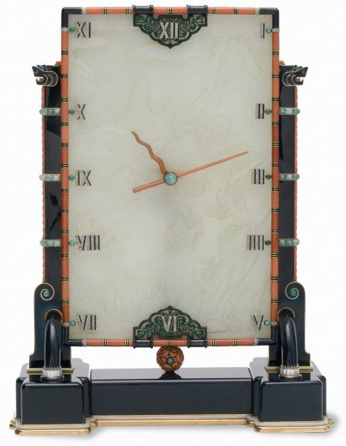 Pendule Louis Cartier (1875-1942), bijoutier Maurice Couët (1885-1963), horloger Paris, 1927 Jade blanc sculpté, onyx, diamants, corail, nacre et or Don George Blumenthal, en souvenir de Madame Blumenthal, 1931 Les Arts Décoratifs