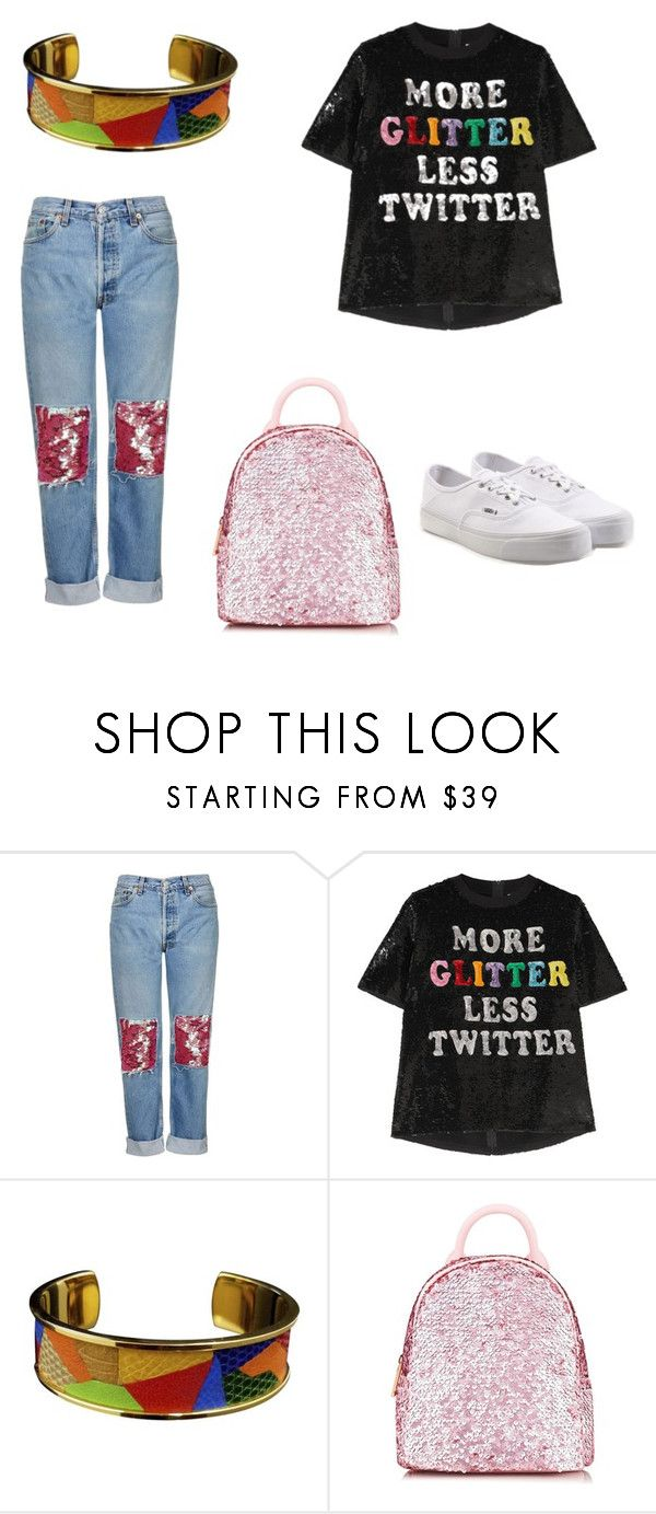 """Untitled #221"" by denysa-boldog on Polyvore featuring Topshop, Ashish, Hermès, Skinnydip and Vans"