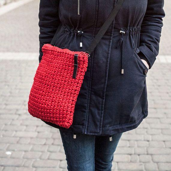 Red Cross Shoulder Crochet Purse by KnitKnotKiev on Etsy