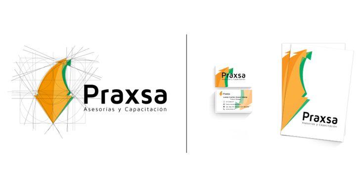 Identidad corporativa compuesto de logotipo, e imagen de marca para la empresa de asesoría y capacitación Praxsa.