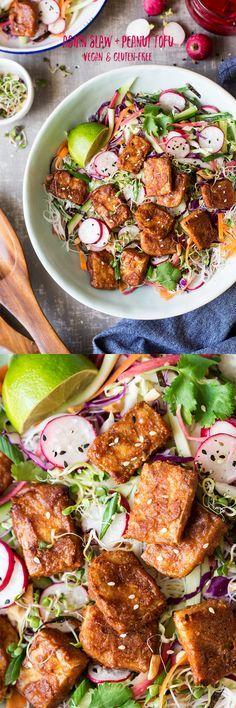 #peanut #slaw #salad #tofu #asian #healthy #vegan #glutenfree #ricenoodles #vermicelli #easy #peanuttofu #bakedtofu #baked