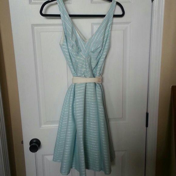 mint silver & white Eva Franco dress