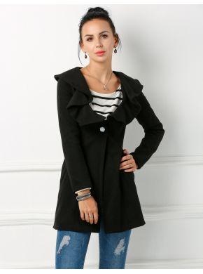 Siyah 2016 Trendler Bayan İnce Zarif Fit Uzun Giyinme Palto ve Ceketler