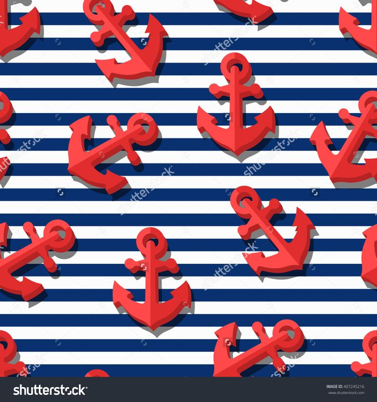 Vector Seamless Pattern With 3d Stylized Red Anchors And Blue Navy Stripes. Summer Marine Striped Background. Design For Fashion Textile Print, Wrapping Paper, Web Background. Anchor Flat Symbol. - 407245216 : Shutterstock