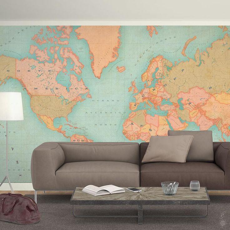 Las 25 mejores ideas sobre decoraci n de mapa mural en - Mapamundi pared ikea ...