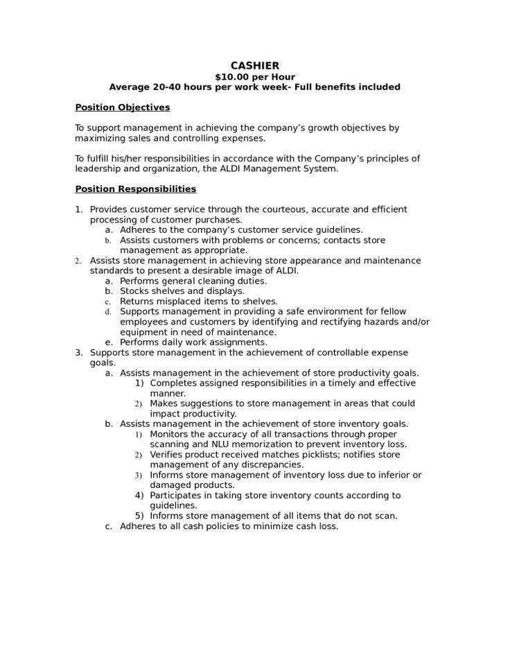 list skills for cashier job description resume grocery store example