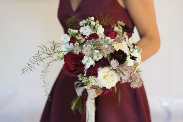 #Marsala #white wedding bouquet