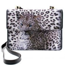 ICON Leather Snow Leopard Double Flap Wallet Bag