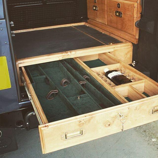 Storage drawer for defender station wagon