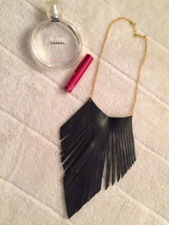 LEATHER FRINGES Necklace Genuine leather Gold by ModernThingsByTF