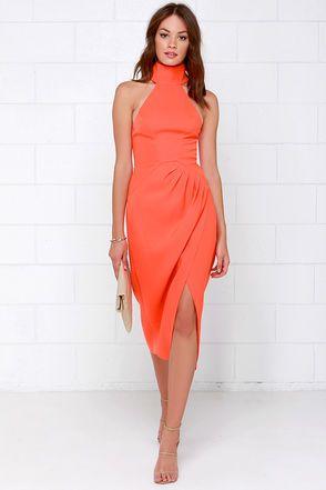 Cameo Kiss Land Dress - Orange Dress - Midi Dress - $185.00