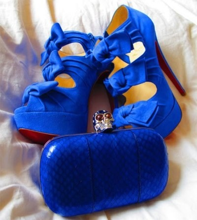 alexander mcqueen skull clutch, matching blue bow heels: Fashion, Style, Color, Royal Blue, High Heels, Bow, Shoes Shoes