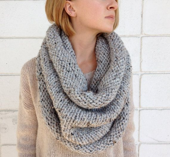 Chunky Infinity Scarf // Grey Marble by WeekendsDesign on Etsy, $72.00