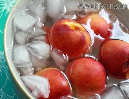 tutorial- how to peel peaches- dip in boiling water 30 sec then into ice water and skin peels right off