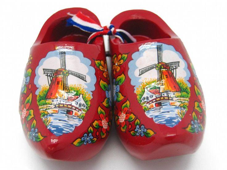 """Decorative Wooden Shoe Clogs Dutch Landscape Design Red (4"""")"""