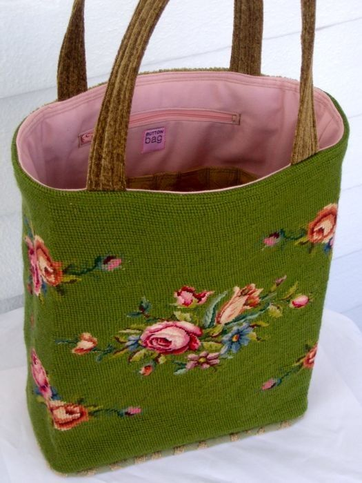 Needlepoint Tote ~ I would do a light beige background instead.  Very pretty. <3