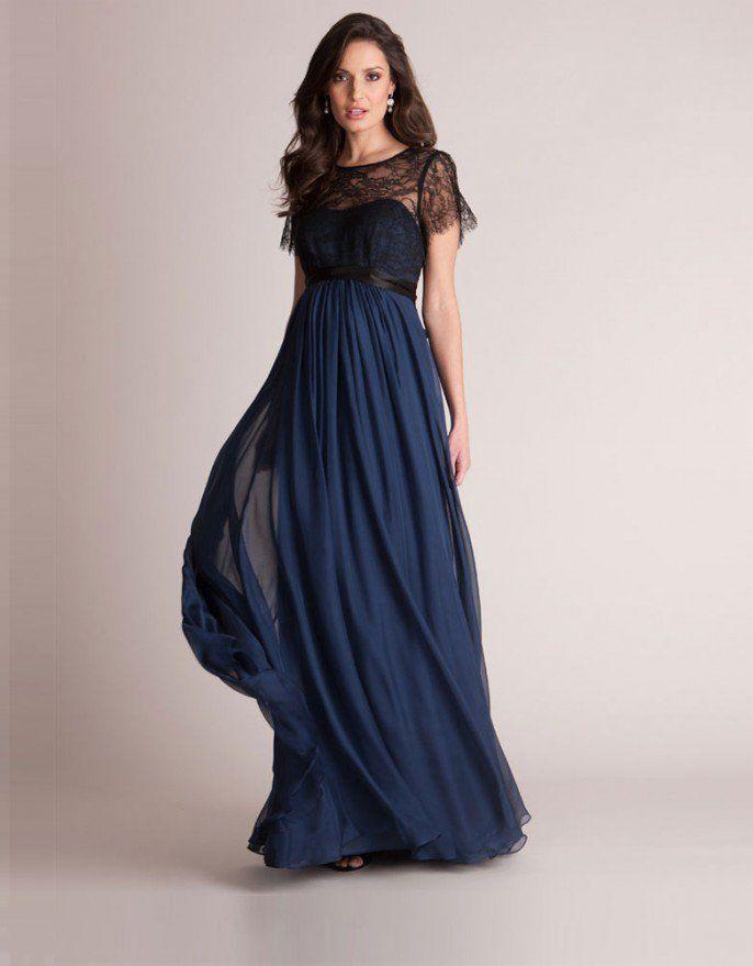 a6bce228b Vestido premamá largo de seda y encaje - Azul marino y negro en 2019 ...