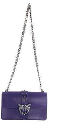 Pinko Women's Purple Leather Shoulder Bag.