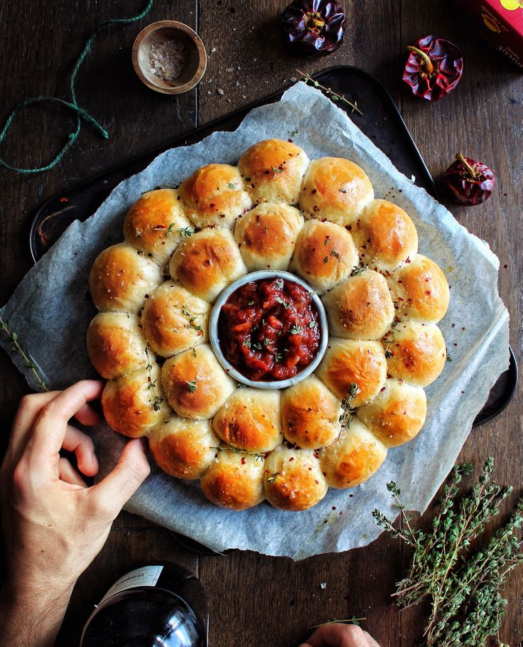 """""""Perfect centre piece for a party, pull apart and dip, so tasty!' Lemon Thyme & Smoked Chilli Dough Balls with Dip"""