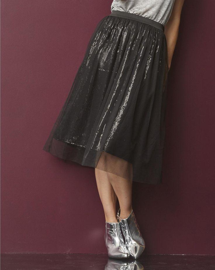 Tulle Overlay Sequin Midi Skirt | JD Williams US Site